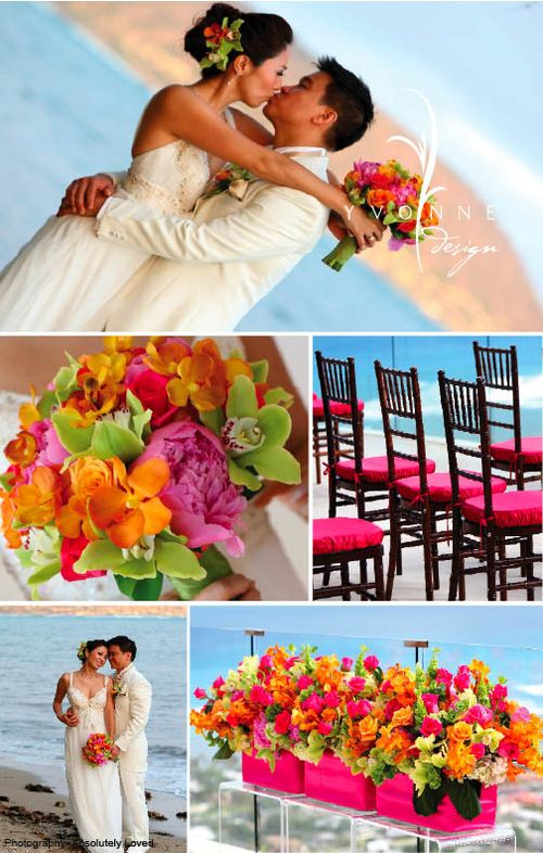 Vibrant orange and bold pinks were combined with celery green to create the
