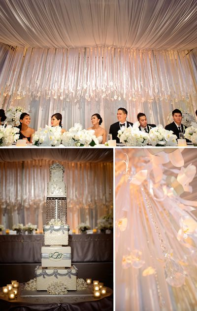 Hanging Over The Head Table And Creating A Dramatic Display Were 5 6 Ribbon Strands Nearly 1000 Yards